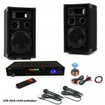 PA Party Karaoke Anlage Boxen USB SD MP3 Bluetooth Receiver Radio Fernbedienung 2x Mikrofon DJ-Smart 2