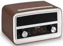 Bluetooth Nostalgieradio in dunklem Braun mit 0, 6? Display und Alarmfunktion CRB-619