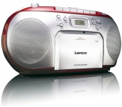 Stereo Musik Sound Audio FM Radio Anlage CD-Player tragbar Kassettenplayer Lenco SCD-42 rot