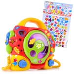 Karaokeanlage Kinder portabler Karaoke CD Player Sing-a-long +2 Mikrofone im Set inklusive Sternchen Sticker