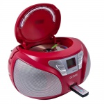 Stereo Radio CD Player USB Anschluss Boombox Musik Anlage MP3 Denver TCU 206 Rot