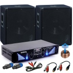 PA Erweiterungs Set 2x 1200W Omnitronic Subwoofer 3000W Bluetooth USB Verstärker DJ-Add-On 10