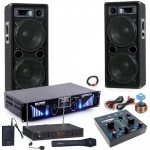 2400W PA Party Musik Anlage Boxen MP3 USB SD Bluetooth Endstufe Mixer Funk Mikro DJ-Blue 7