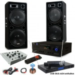 3000W PA Party Musikanlage Boxen USB SD MP3 Bluetooth Verstärker Mixer Funkmikrofon DJ-Tornado