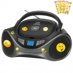 Bluetooth CD Radio USB MP3 Boombox AUX IN LCD Display Stereo Musik Anlage tragbar mit Stickers