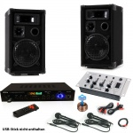 Karaoke Anlage Boxen USB SD MP3 Bluetooth Receiver Radio Fernbedienung Mixer 2x Mikrofon DJ-Smart 3