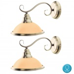 2x LED Wand Lese Leuchten Wohn Ess Zimmer Lampe Strahler Glas Amber Beleuchtung