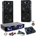 2400W DJ Set Boxen Bluetooth USB MP3 Verstärker Mixer Mikrofon Kabel DJ-170