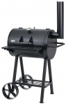 Grill Fass Stand Wagen Holzkohle Garten BBQ mobil Kaminabzug Stahl Thermometer