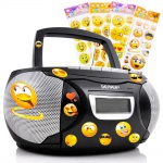 Stereo Musik Anlage Kinder Zimmer CD-Radio Kassettendeck im Set inklusive Smiley Sticker