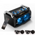 Lautsprecher tragbar Musik LED´s Sound Box System Bluetooth USB im Set inklusive 2 Mikrofone