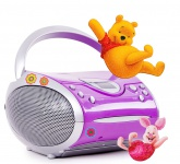 Hochwertiges Stereo FM Radio CD Player Lautsprecher tragbar Musik im Set inklusive Winnie Pooh Sticker