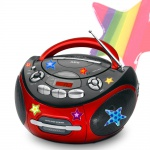 AEG Tragbarer Kinder CD Player Stereo Musik Anlage Radio AUX-IN MP3 mit Sternchen Sticker