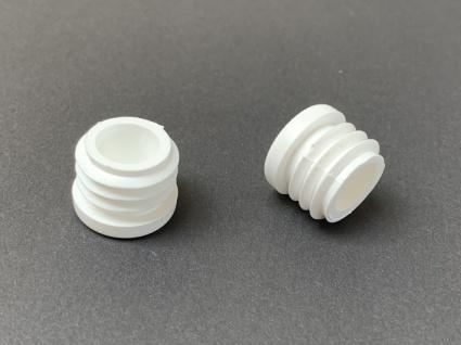 Fuss-Stopfen rund 20 mm - Gewinde 19 mm weiss