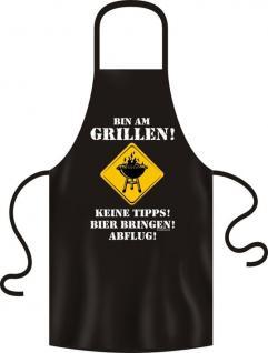 """Grillschürze """"Bin am Grill"""" 100% Baumwolle"""