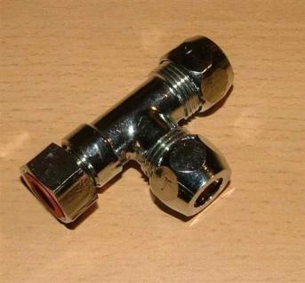 """Verchr. T-Stück,Überwurfm. 2Quetschen 3/8"""" x10 mm (2516# - Vorschau"""