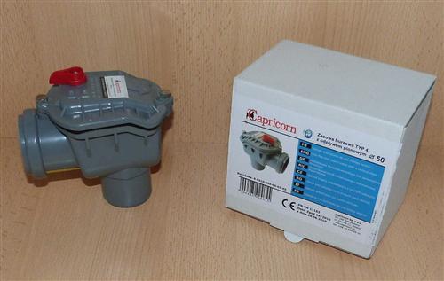 Rückstauverschluss 90° abgewinkelt 50 mm mit Handverrieglung ( 5888#