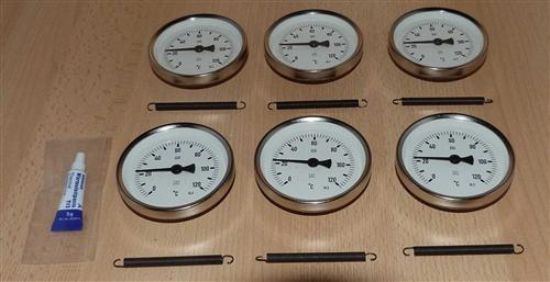 Anlegethermometer Set 6x Metallausführung Ø80mm -120°C + Wärmeleitpaste(5929# - Vorschau