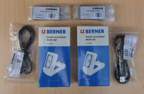 BERNER Neu 2xPocket Delux Bright Micro USB inkl.2x Ladestecker u. Kabel (8516#