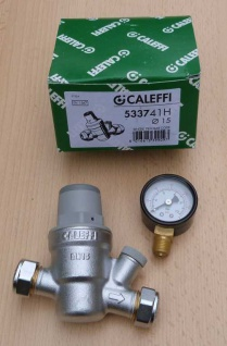 Caleffi HT Druckminderer 15mm + Manometer (533741H) radial 0-10bar (8945#