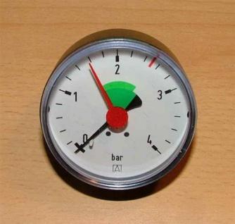 """Heizungsmanometer - axial, 3/8"""" roter Skalenstrich bei 2, 5bar (0 -4 bar)(2518#"""