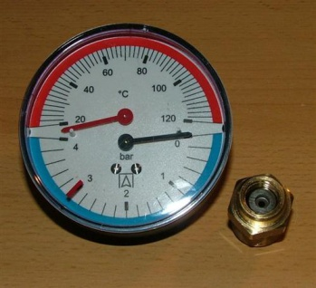 Thermomanometer axial ø80mm / 0-4bar / 20 -120°C (5162#