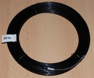 Einziehdraht Nylon 30m schwarz / Kabeleinziehhilfe stark 4mm (6917#
