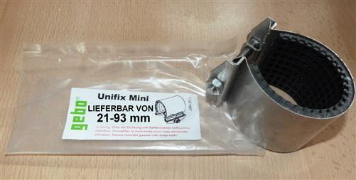 Edelstahl Dichtschellen Unifix Mini Größe von 21 bis 93 mm x 60mm von Gebo