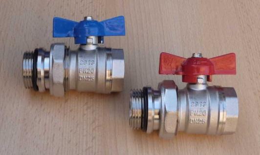 """2x Kugelhahn Set rot / blau 1"""" AG / IG mit Verschraubungsteil (8604#"""