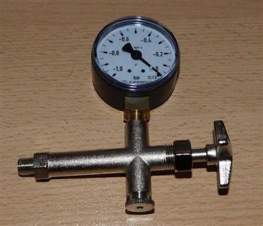 Vakuummanometer -1bar bis 0bar + Entlüftungsarmatur (6696# - Vorschau