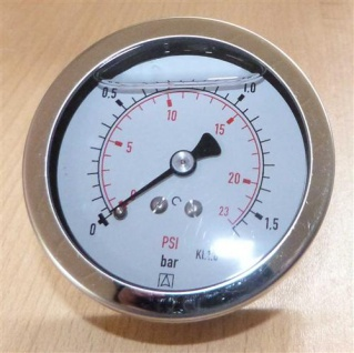 "Glyzerin Manometer 0 bis 1, 6 Bar / axial Ø 67 mm / 1/4"" AG (7228#"