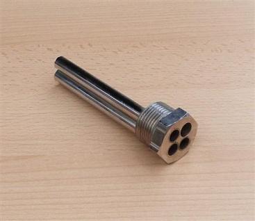 """Tauchhülse Messing vernickelt 1"""" AG x L=120, 3 Fühler je Ø 9, 4mm (8056#"""