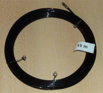 Einziehdraht Nylon 15m schwarz / Kabeleinziehhilfe stark 4mm (6914#