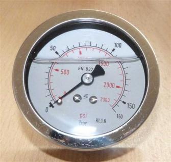 """Glyzerin Manometer 0-160 Bar / axial Ø 67 mm / 1/4"""" AG (7229# - Vorschau"""