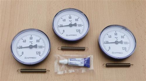 3 Anlegethermometer (Set) Ø 80 - 120°C + Wärmeleitpaste (7839# - Vorschau