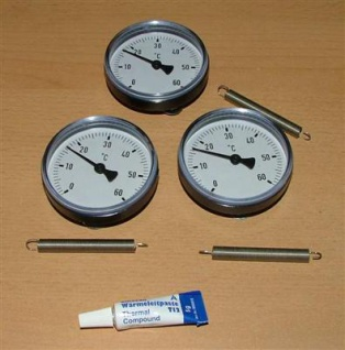 3 Anlegethermometer Set Ø63mm -60°C + Wärmeleitp.(5276#