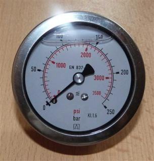"Glyzerin Manometer 0 bis 250 Bar / axial Ø 67 mm / 1/4"" AG (7231# - Vorschau"