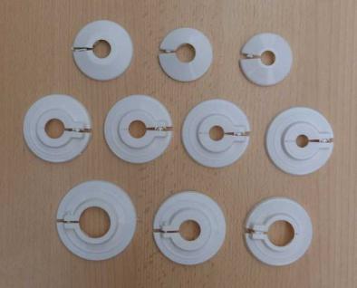 Klapprosetten für Heizkörperrohre usw. weiß verschiedene Durchmesser