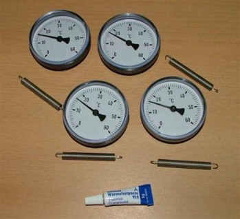 4 Anlegethermometer Set Ø63mm -60°C + Wärmeleitp.(5277#