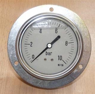 """Glyzerin Manometer 0 bis 10Bar axial Ø85 mm 1/4"""" AG Schalttafeleinbau (7225#"""