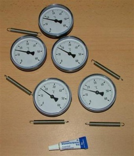 5 Anlegethermometer Set Ø63mm -60°C + Wärmeleitp.(5278#