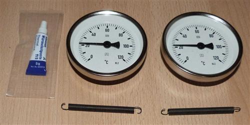 Anlegethermometer Set 2x Metallausführung Ø80mm -120°C + Wärmeleitpaste(5925#