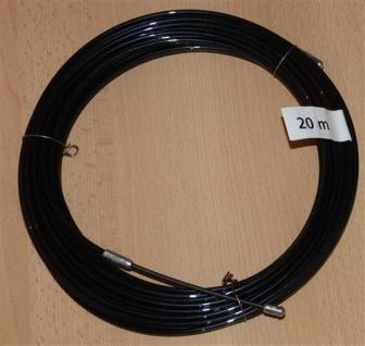 Einziehdraht Nylon 20m schwarz / Kabeleinziehhilfe stark 4mm (6915#