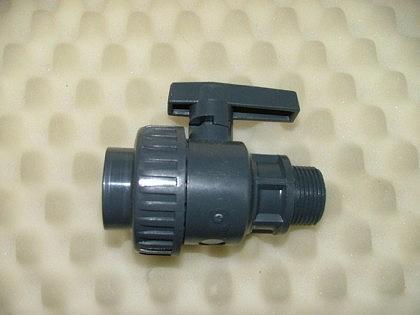 PVC-Kugelhahn mit 1 Überwurfmutter mit IG und AG