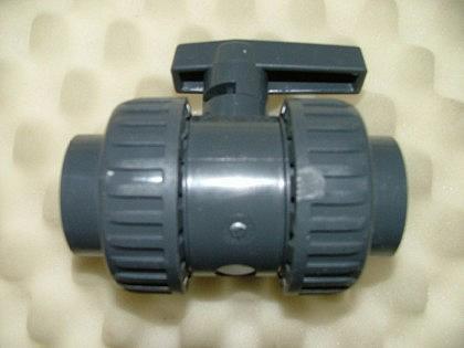PVC-Kugelhahn, 2x Überwurfm., 2x Klebemuffe - Vorschau 1