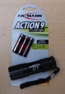 LED Taschenlampe Ansmann ACTION 9 inkl. 3x AAA Batterien (8497#