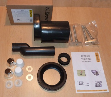 PE-Wand-WC-Anschlussgarnitur 110 / 110 , Etagiert um 25 mm (9955#