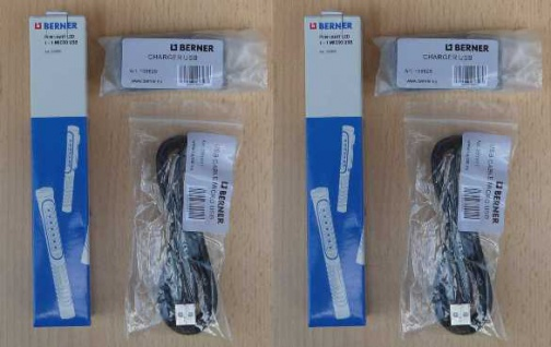 BERNER 2x LED Pen Light 7+1 inkl.2x Ladestecker u.USB Kabel (8518#
