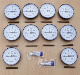 10 Anlegethermometer (Set) Ø 80 - 120°C + 2 Wärmeleitpaste (7842#