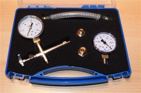 Pumpenprüfkoffer blau komplett Manometer Vakuumeter (6688#